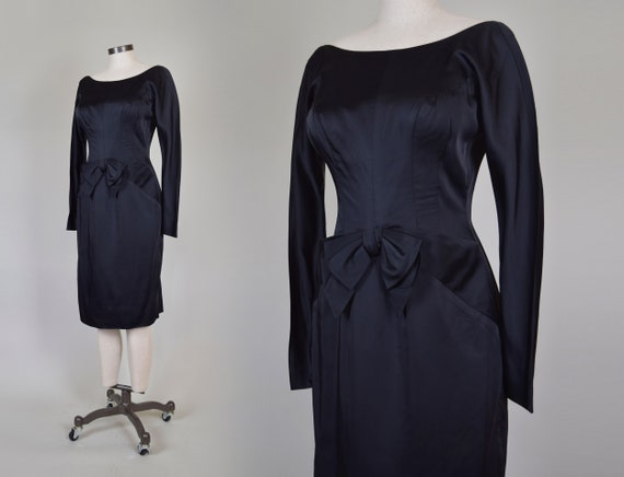 1960's Black Satin Cocktail Dress | 1960s Bow Cocktail Dress