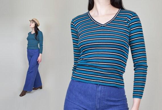 1970's Striped Shirt | 70's Striped Long Sleeve Sh