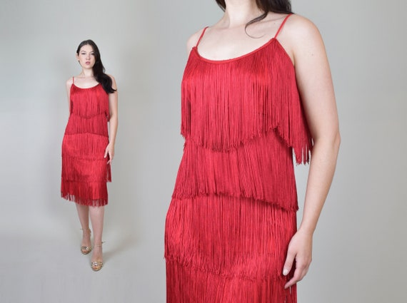 Vintage Red Fringe Flapper Dress | Red Fringe Dres