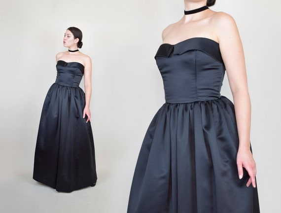 Victor Costa Black Tuxedo Gown | Vintage Black Hol