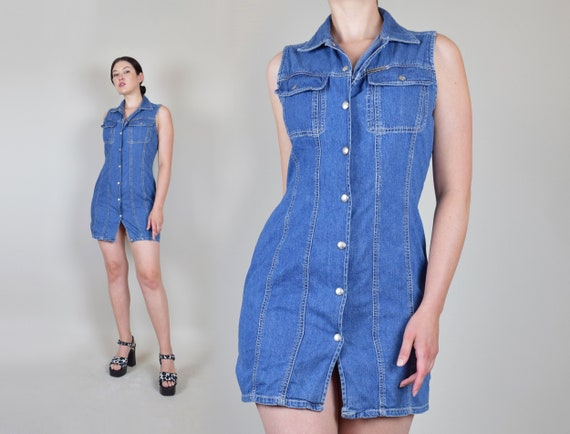 90's Calvin Klein Denim Dress | 90s Calvin Klein D