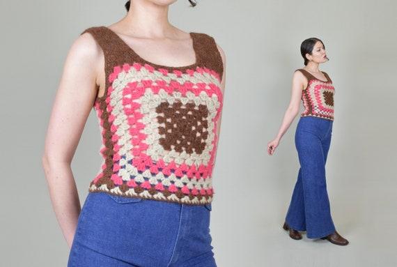 1970's Granny Square Vest | 1970's Crochet Knit V… - image 7