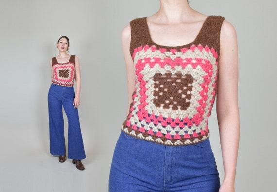 1970's Granny Square Vest | 1970's Crochet Knit V… - image 1