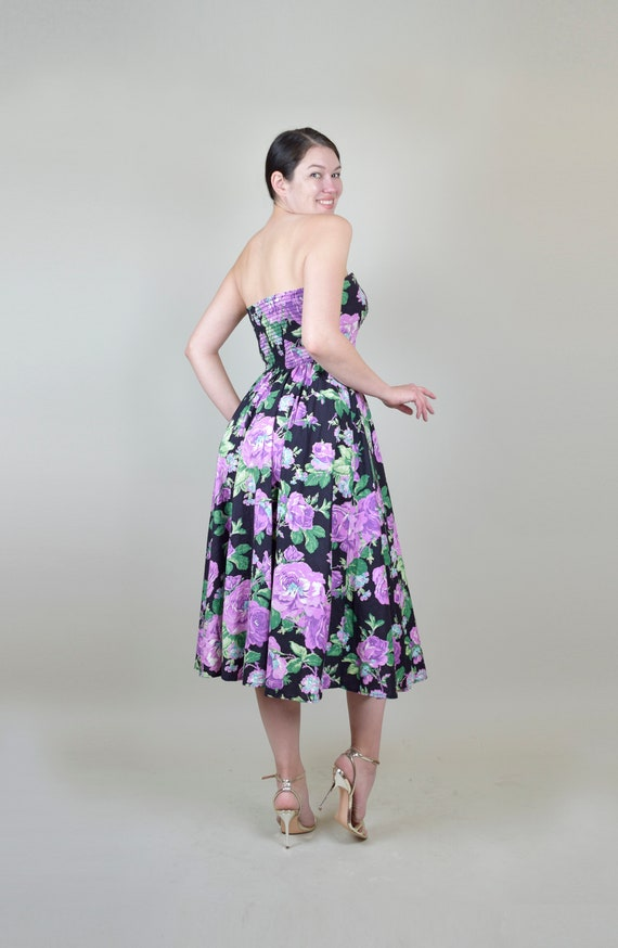 80's Rose Print Dress | 1980s Strapless Floral Dr… - image 5