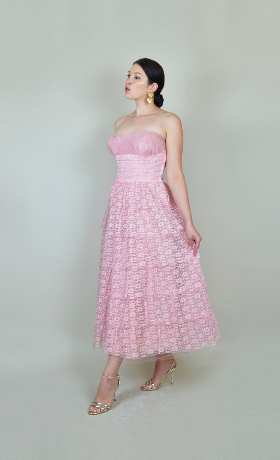 1950's Pink Lace Party Dress | 1950s Pink Lace Pr… - image 5