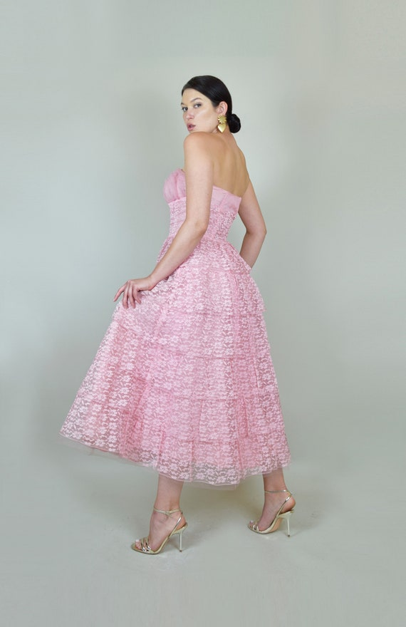 1950's Pink Lace Party Dress | 1950s Pink Lace Pr… - image 6