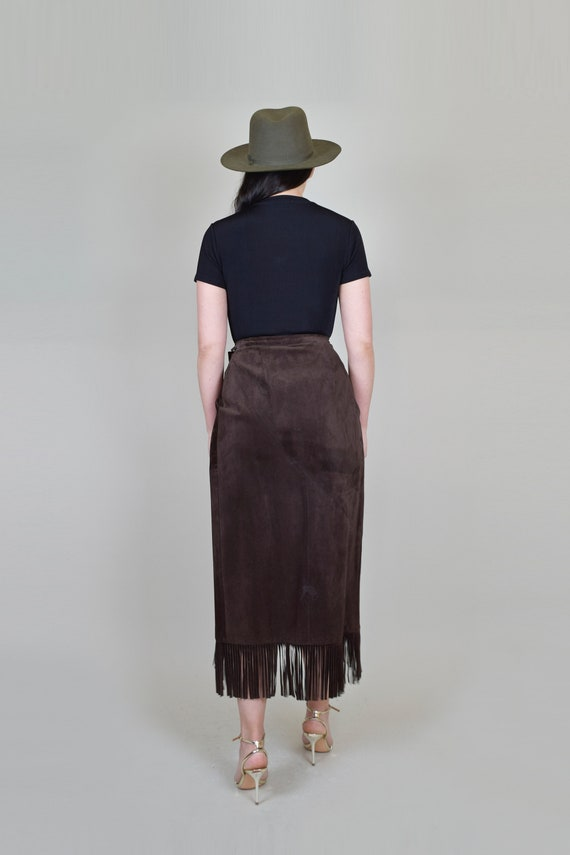 Leather Fringe Wrap Skirt   Western Suede Wrap Sk… - image 8