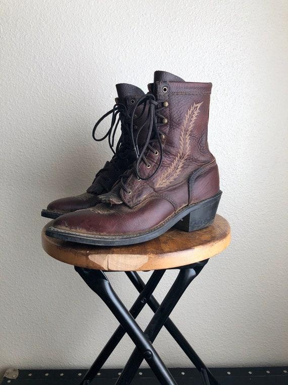 Vintage Abilene Lace Up Boots   Abilene Western Bo
