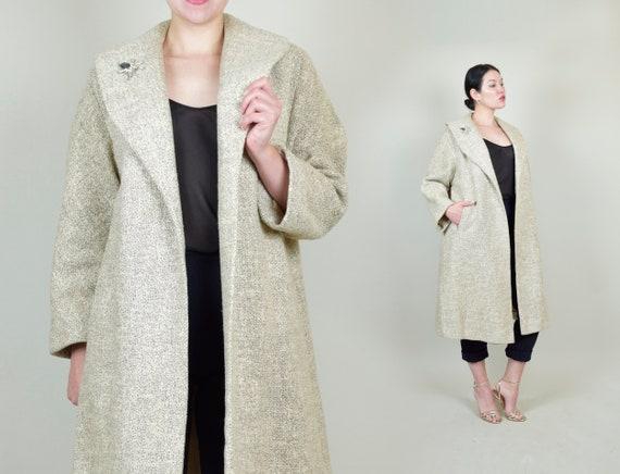 1950's Oatmeal Tweed Swing Coat | 1950s Wool Swing