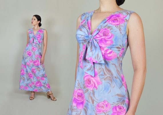 1960's Hawaiian Rose Print Dress | 1960's Hawaiian