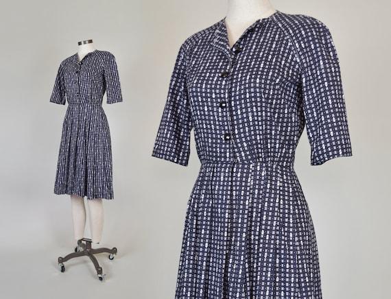 1950's Floral Print Shirtdress | 1950's Printed Dress