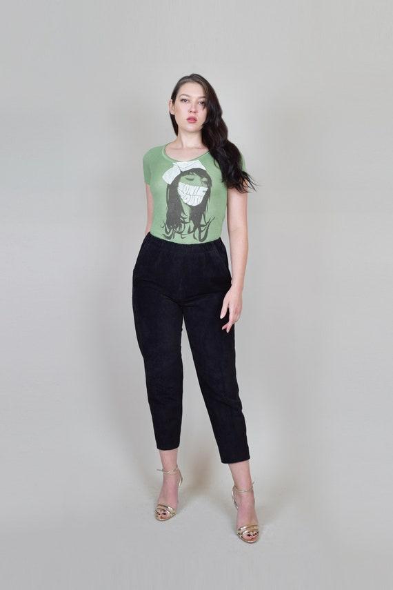Suede Leather Pants | Vintage Elastic Waist Leath… - image 2