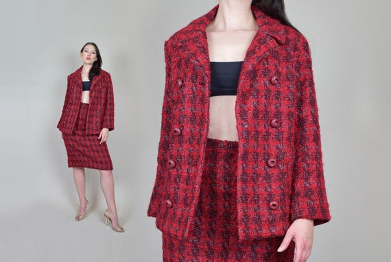 1960's Pink Tweed Skirt Suit | Vintage 2 Piece Twe