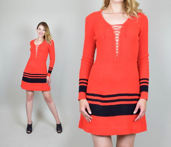 1970's Lace Up Knit Sweater Dress
