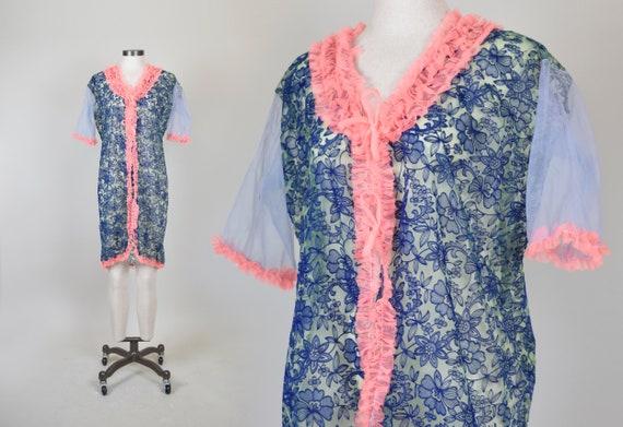 1960's Ruffle Peignoir | Velvet Burnout Robe | 196