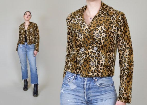 90's Betsey Johnson Leopard Print Jacket | Betsey Johnson Leopard Print Coat | 90s Faux Fur Leopard Print Jacket