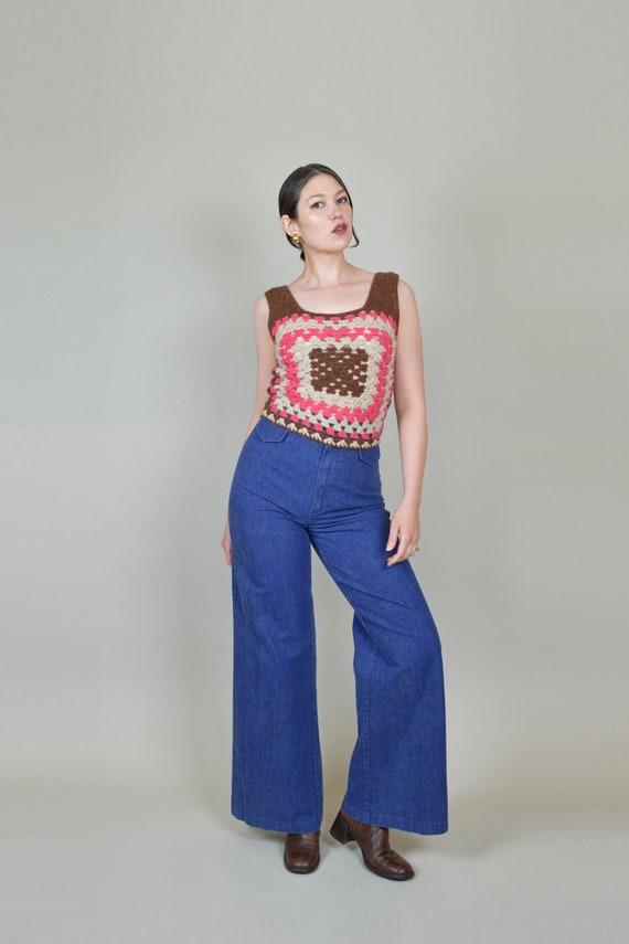 1970's Granny Square Vest | 1970's Crochet Knit V… - image 4
