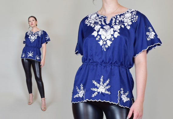 1960's Floral Embroidered Blouse | Vintage Mexican Embroidery Top