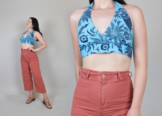 90's Printed Halter Crop Top | Vintage 90s Crop To