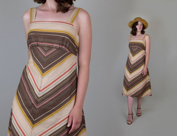 1970's Sunset Chevron Stripe Dress