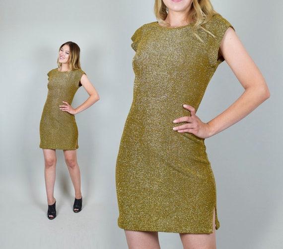 Knit Mini 50s Disco Sweater Lurex Dress style Gold Metallic 1970's Dress Cocktail Backless Dress Lurex TFYxw