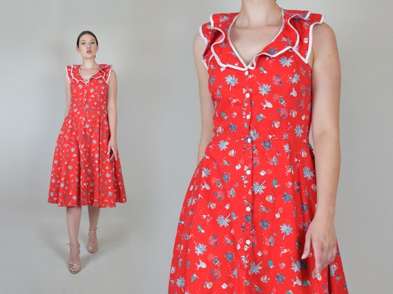 Vintage Ruffle Summer Dress | Martini Print Summer