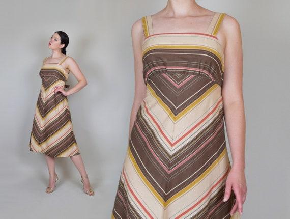 1970's Chevron Stripe Dress | 70s Striped Sun Dres