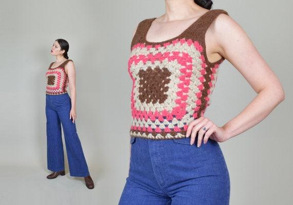 1970's Granny Square Vest | 1970's Crochet Knit V… - image 5