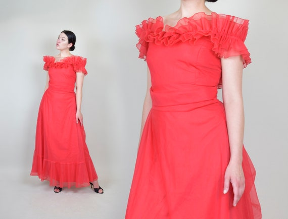 Red Sheer Ruffle Dress | Vintage Sheer Chiffon Dre