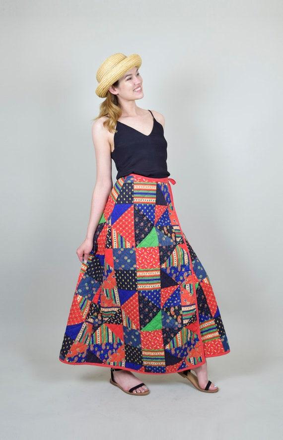 1970s Quilt Patchwork Skirt | Vintage Quilt Patch… - image 9