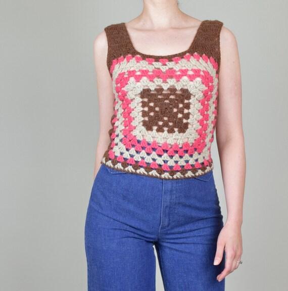 1970's Granny Square Vest | 1970's Crochet Knit V… - image 9