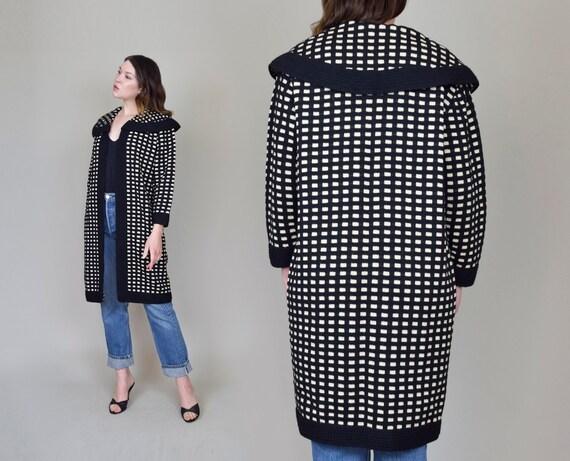 1950's Wool Checkered Coat   50's Wool Cocoon Coat