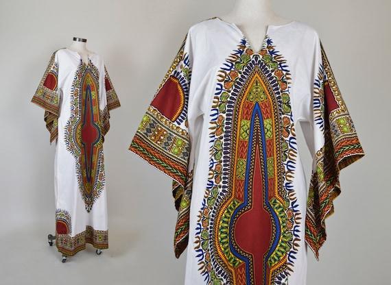 1970's Dashiki Dress | 1970's Dashiki Caftan | 1970s Dashiki Maxi Dress