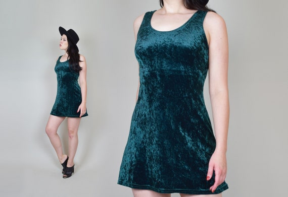 90's Emerald Green Velvet Skater Dress | Vintage … - image 6
