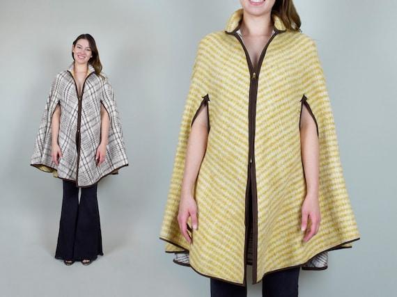 1950's Reversible Plaid Poncho Cape 50's Wool Blan