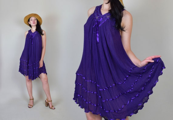 1970's Crochet Lace Gauze Dress | Sheer Gauze Croc
