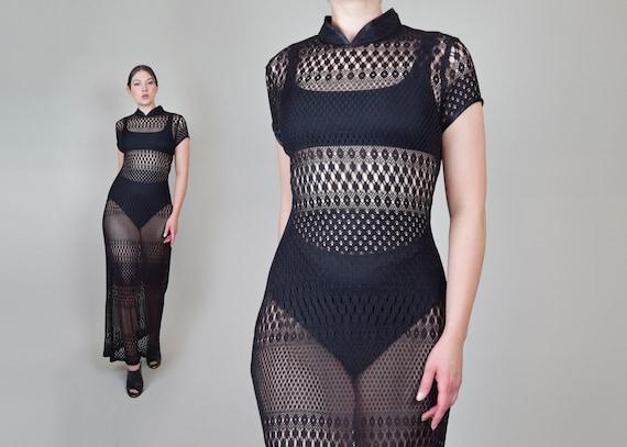 90's Black Crochet Lace Maxi Dress   90s Sheer Lac