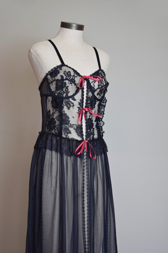 Vintage Black Lace Corset Negligee Robe   1980s L… - image 10