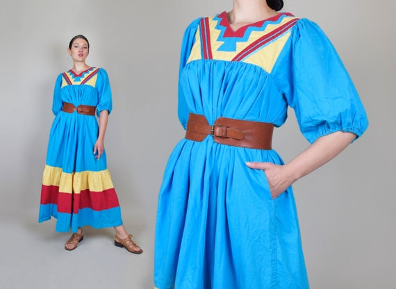 1980's Primary Colors Dress | Vintage Indian Tent