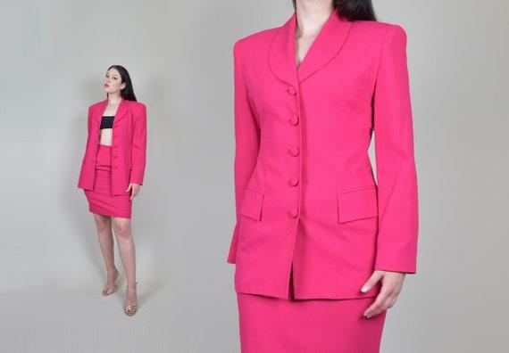 Vintage Oleg Cassini Skirt Suit | 1990's Pink Skir