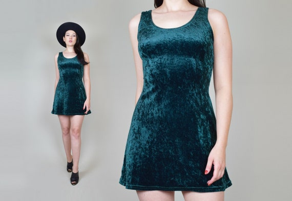 90's Emerald Green Velvet Skater Dress | Vintage … - image 1