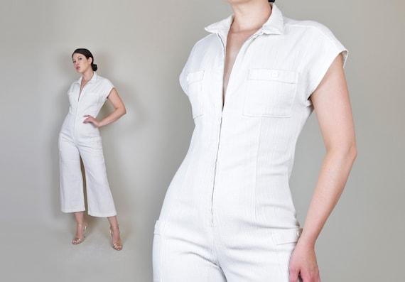 1970's White Gauze Linen Jumpsuit | 1970s Zip Up … - image 1