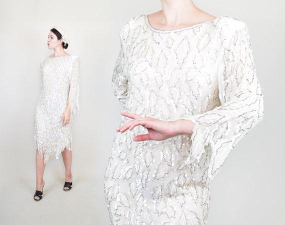 1960s Sequin Flapper Dress | 1960s Saint Honore Se
