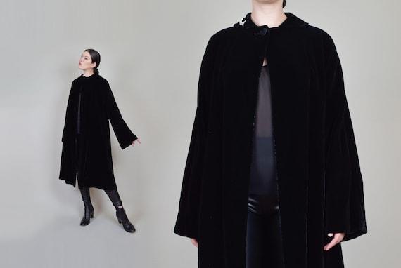 1930's Black Velvet Coat | Silk Velvet Cloak