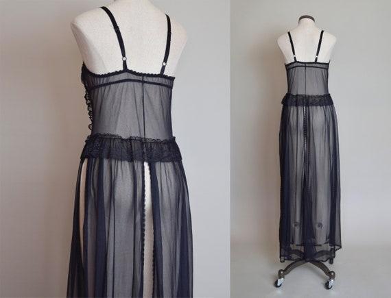 Vintage Black Lace Corset Negligee Robe   1980s L… - image 9