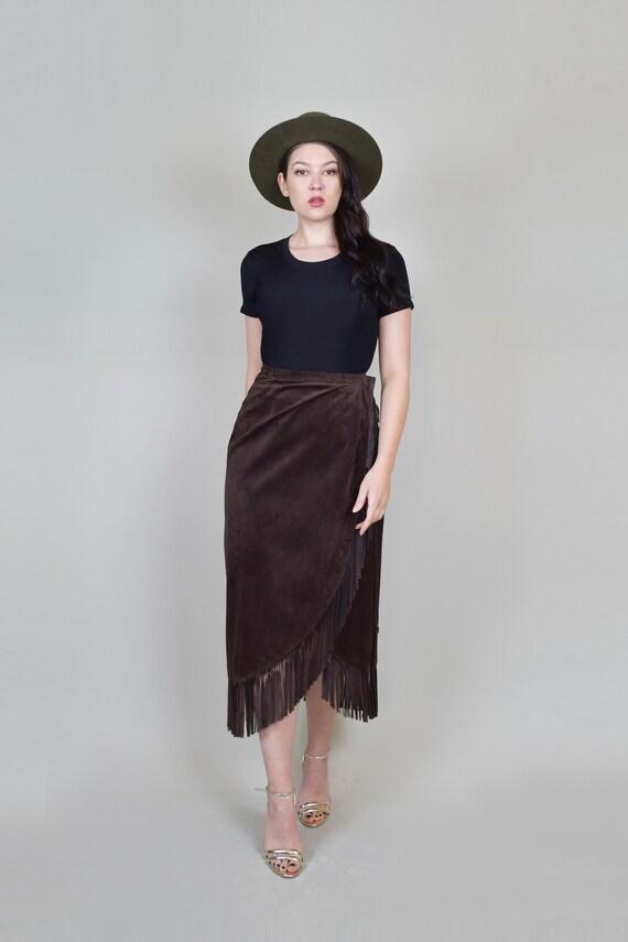Leather Fringe Wrap Skirt   Western Suede Wrap Sk… - image 2
