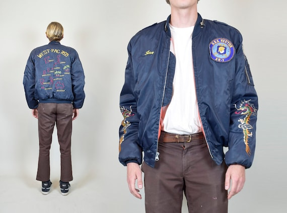 1970's WEST PAC Bomber Jacket | 70's Military Patc