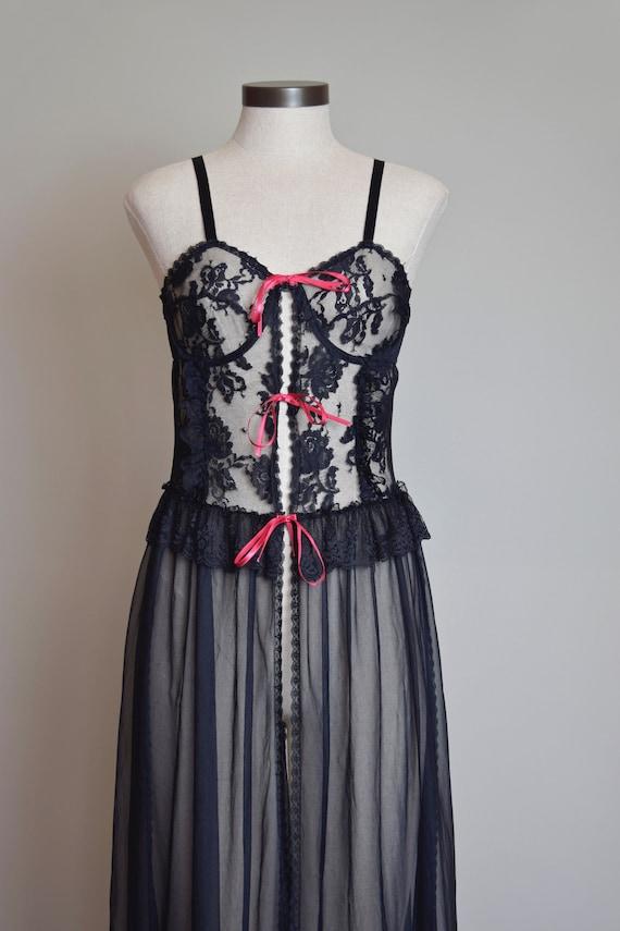 Vintage Black Lace Corset Negligee Robe   1980s L… - image 3