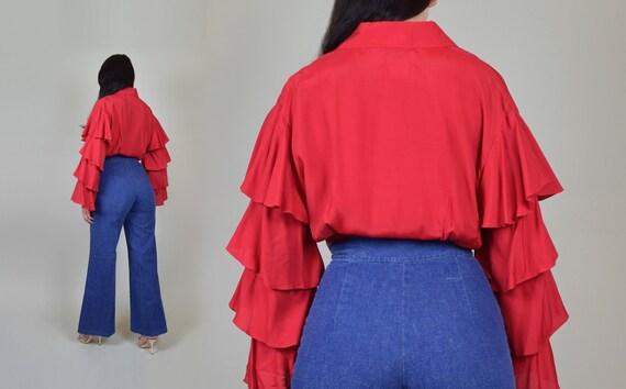 1970's Ruffle Sleeve Shirt | Vintage Ruffle Sleev… - image 9
