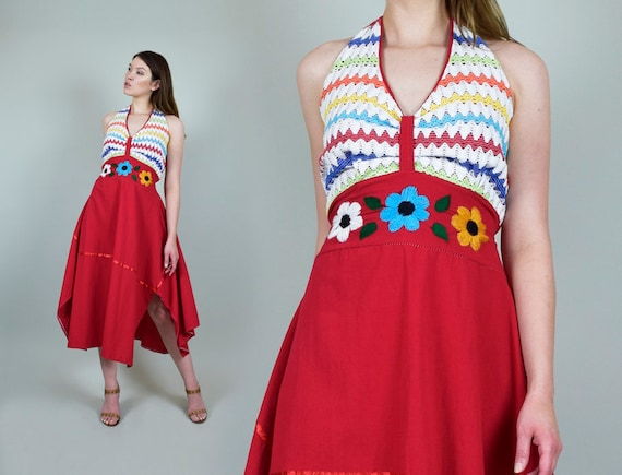 1970's Floral Embroidered Dress l 1970's Halter Su